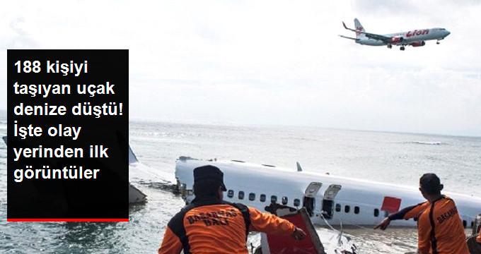 188 kişiyi taşıyan uçak denize düştü! işte olay yerinden ilk görüntüler