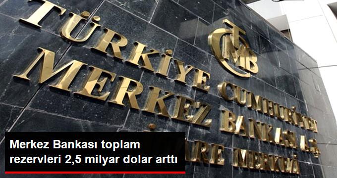 Merkez Bankası toplam rezervleri 2,5 milyar dolar arttı